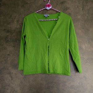 Lilly Pulitzer Vibrant Green Silk Blend Cardigan